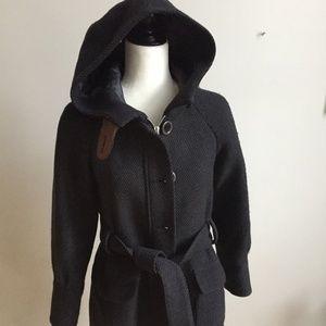 TED BAKER coat wool belted hood dark gray sz 1